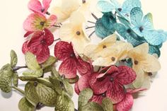 35 Silk Hydrangea Blossoms in Mixed Colors  Cream by simplyserra, $4.85