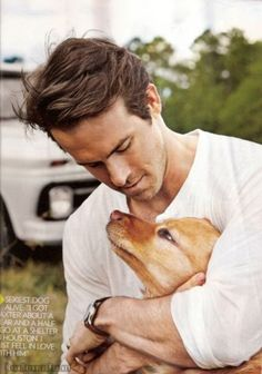 Look! And Ryan Reynolds! Puppies and Ryan Reynolds and Zero Sad Stories! Ryan Reynolds, Chris Williams, Robin Williams, Love Dogs, Puppy Love, Mans Best Friend, Best Friends, Xavier Samuel, Actresses