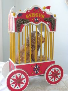 SOLD, Vintage Circus Lion in Cage