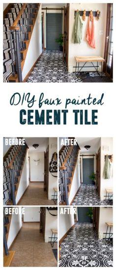 Faux Cement Tile Painted Floors, How to Paint Tile Floors, DIY Painted Cement Tile www.BrightGreenDoor.com