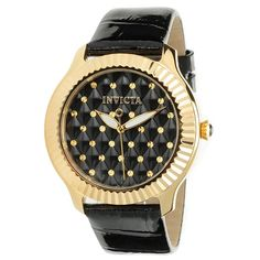 Invicta Women's 22563 Angel Quartz 3 Hand Black Dial Watch -- Discover this special product, click the image Quartz Watch, Fashion Watches, Gold Watch, Black Leather, Lady, Accessories, Angel, Wrist Watches, Image Link