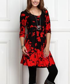 Loving this R&B Black & Red Floral Empire-Waist Tunic Dress - Plus Too on #zulily! #zulilyfinds