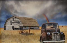 Painting from a composite, truck, barn, and farming implement were taken from different photos.Rusty old trucks are one of my favorite photography and painting subjects.