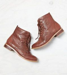 Brown AEO Lace-Up Wingtip Boot