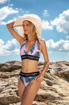Say goodbye to saggy swimwear and enjoy the luxurious look and feel of our Paradiso Triangle Bikini Top. Sporting a fresh leaf print on a pale pink base, the Tikiboo printed chest band provides a firm but flexible fit whether you're into waterslides or watersports.  Double-lined (front and back), this gorgeous bikini top won't go see-through even when completely soaked, and the chlorine resistant fabric stays bright and supple. Triangle Bikini Top, Water Sports, Pale Pink, Bikini Tops, Bikinis, Swimwear, Swimming, Base, Bright