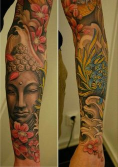 With her or his expertise, you can be certain that you are going to have the tattoos that you truly need the most. Skull tattoos are believed to represent dark thoughts or negative feelings. Other religious tattoos might also be designed with crowns. Japanese Tattoo Women, Japanese Sleeve Tattoos, Full Sleeve Tattoos, Tattoo Sleeve Designs, Tattoo Sleeves, Buddha Tattoos, Tattoos Skull, Black Tattoos, Buddah Sleeve Tattoo