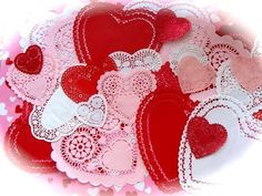 Valentine Lot Pretty Pink Red and White Lacy by reginasstudio