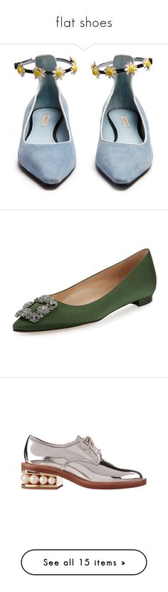 """""""flat shoes"""" by loves-elephants ❤ liked on Polyvore featuring shoes, flats, flat shoes, pointed leather flats, flat pointy shoes, flat heel shoes, flat pumps, manolo blahnik, army green and flat pump shoes"""