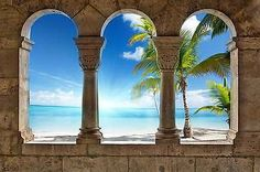 WALL MURAL PHOTO WALLPAPER XXL View Paradise Beach Tropical Palms (773WS) 5 Wall Stickers Glow In The Dark, Wall Stickers Cars, Mirror Wall Stickers, Butterfly Wall Stickers, 3d Wall Murals, 3d Wall Decor, Photo Wallpaper, Wall Wallpaper, Contemporary Wall Stickers
