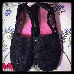 Little girl shoes This are black see through. In good shape Shoes Flats & Loafers
