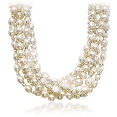 Multi- strand pearl necklace