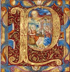 Missal of Bishop Antonio Scarampi (Group Title)-Initial P: The Adoration of the Christ Child Artist/Maker: Fra Vincentius a Fundis (Italian, active about 1560s) Culture: Italian Place: Nola, Campania, Italy, Europe (Place created) Date: 1567 http://www.getty.edu/art/collection/objects/3148/fra-vincentius-a-fundis-initial-p-the-adoration-of-the-christ-child-italian-1567/?dz=0.3252,0.3182,1.63