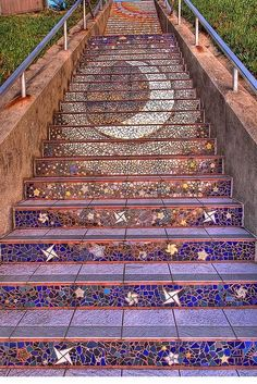 A moon mosaic on stairs <3 It is terribly kitschy bjt I love it