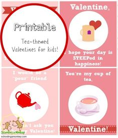 Printable Valentines for Kids is part of Science Puns For Kids - These free printable teathemed valentines for kids feature fun tea puns perfect for a Valentine's Day tea party! Valentines Day Activities, Valentines For Kids, Valentine Day Crafts, Valentine Wreath, Valentine Box, Valentine Ideas, Science For Toddlers, Kids Learning Activities, Steam Activities
