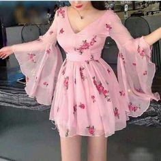 Blvyisla Pink Fairy Lady Mini Dress Slim Women Deep V Flower Sweet Ruffled Summer Holiday Dresses Night Party Lolita Vestidos Dress Outfits, Fashion Dresses, Dress Up, Cute Outfits, Fairy Outfits, Dress Attire, Pretty Dresses, Beautiful Dresses, Cheap Pink Dresses