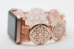 *********************************************DESCRIPTION********************************************* This (ever elusive) Rose Gold-Toned Apple Watch Bracelet Band is hand strung custom made to fit your wrist. The pieces are Rose gold toned cast pieces of intricate filigree that add a gentle feminine tone to an otherwise harsh masculine piece. *********************************************SIZING***************************************************** Please insert the size of your wrist when…