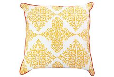 This bold Ikat print is rendered in a vibrant saffron for a contemporary take on classical motifs of Patola double-Ikat saris. The pillow is screen-printed by hand and finished with contrast piping. Insert is included.