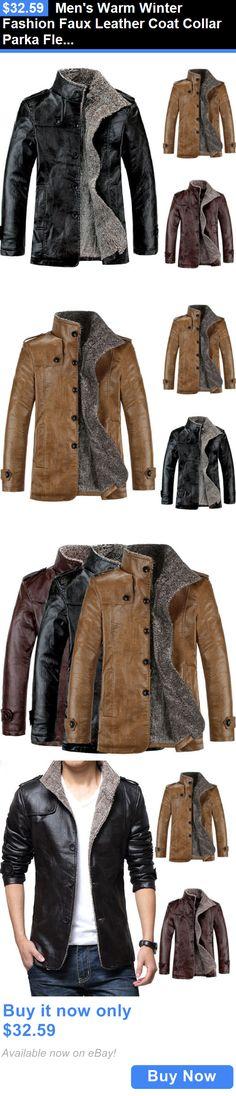 Men Coats And Jackets: Mens Warm Winter Fashion Faux Leather Coat Collar Parka Fleece Jacket Slim Coat BUY IT NOW ONLY: $32.59
