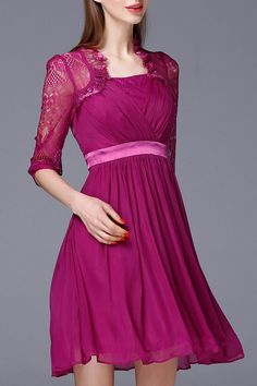 Lace Design Pink Dress