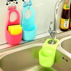 Plastic Kitchen Sink Hanging Storage Bag Strainer Organizer Storage Box Holder
