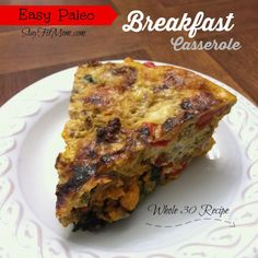 Paleo breakfast casserole- Whole 30 Recipe- This would be perfect to make for the week! Wrap individually and freeze.