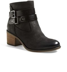 shipping and returns on Franco Sarto 'Linden' Leather Bootie (Women) at . A blocky, stacked heel and easy almond toe give the belted Linden bootie a season-spanning silhouette that's right on trend. Fall Booties, Ankle Booties, Bootie Boots, Shoe Boots, Shoe Bag, Shoe Closet, Magic Shoes, Womens Boots On Sale, Sock Shoes
