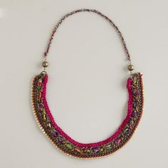 WorldMarket.com: Fabric, Chain and Rhinestone Necklace - I could see copying this idea with some tweaks