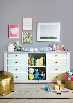 DIY a drab antique into a modern and playful piece.