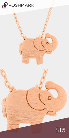 "Textured Elephant Pendant Necklace • Color : Rose Gold • Theme : Animal  • Necklace Size : 16"" + 2"" L • Pendant Size : 12 X 10 mm • Textured matte metal elephant pendant necklace Jewelry Necklaces"