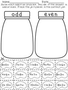 odd or even. Addition pack-Odd and even answers with jellybeans; I am going to differentiate this with larger addition or subtraction problems with some of my students! Math Resources, Math Activities, Math Games, Second Grade Math, Grade 2, Primary Maths, Math Numbers, Decomposing Numbers, Math Workshop