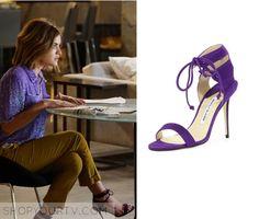 ShopYourTv:Pretty Little Liars: Season 6 Episode 13 Aria's Purple Strappy Sandals - ShopYourTv