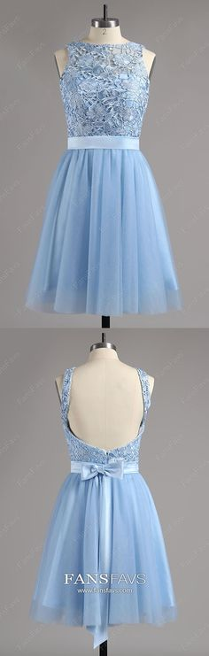 Blue Homecoming Dresses Short, A Line Homecoming Dresses Open Back, Tulle Homecoming Dresses Modest, Lace Homecoming Dresses For Teens #FansFavs #homecomingdresses #bluedresses #openbackdresses