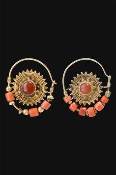 Uzbekistan | Arabek  Nose Earrings from the Region of Karakalpakistan | Gold, coral, and stones |  First half 1900s