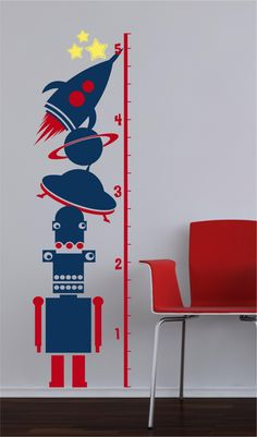 62.5x17 Growth Chart Space Ship Alien Start Outer Space soar Moon Vinyl Decor Wall Lettering Words Quotes Decals Art Custom Willow Creek Signs. $49.95, via Etsy.
