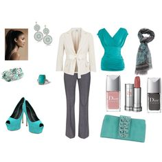 Grey and Turquoise, created by kimmybeshara on Polyvore