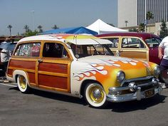 Flaming '51 Ford shoebox is owned by SoCal Woodies NWC chapter.
