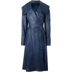 Liska Double Breasted Flared Coat (3,680 CAD) ❤ liked on Polyvore featuring outerwear, coats, jackets, blue, blue double breasted coat, double-breasted coat, blue leather coat, flare coat и genuine leather coat