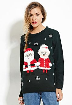"""This """"Ugly Christmas sweater"""" is actually pretty cute. lol Mr. And Mrs. Claus Graphic Sweater 