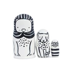 A delightful set of 3 Nesting Dolls by Wee Gallery which feature black and white animals, the Lion, the Cheetah and the Kitty. They come packaged one inside the other and are hand painted in a village in Russia especially for Wee Gallery.  A perfect statement piece for any child's room.  Small Parts Warning: The Kitty is small enough to require a small parts warning. This item is rated for 3+. It is not a toy for babies or toddlers and can be considered a decorative piece for children of…
