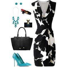 LOLO Moda: #luxurious #black #white #dress, http://lolomoda.com/knee-length-dresses-trend-2014/