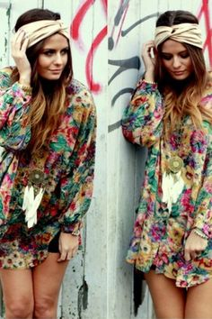 Boho florals with headband and long necklace.
