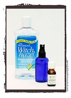 Natural Bug Spray-witch hazel, 15-20 drops eucalyptus oil, 5-10 drops tea tree oil, peppermint oil, rosemary oil