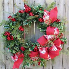holiday christmas wreath natural realistic cedar and berry wreath with plaid and burlap bow