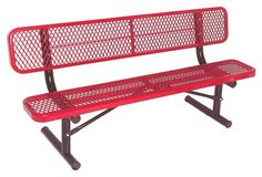 Portable Bench w Back in Red (6 ft.)