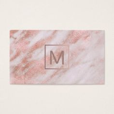 #professional - #monogram on rose gold marble business card