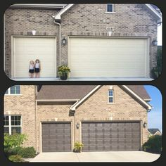 DIY garage door makeover-- remove trim, replace weather stripping to match, choose a sun-proof paint
