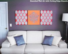 Vibrant Wall Art Canvases painted with Cutting Edge Stencils