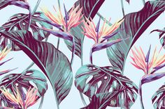 Tropical flowers and leaves vintage by mystel on