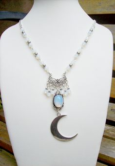 Moonstone and Opalite Crescent Moon Necklace Pagan, statement necklace, Moon necklace by freakchicboutique on Etsy