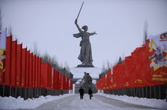 Russia's gigantic monument to the Battle of Stalingrad, the Mother Motherland statue.